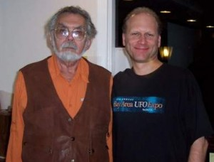 Egyptian archeologist, author, and speaker, John Anthony West and Robin Jones at The Living Temple